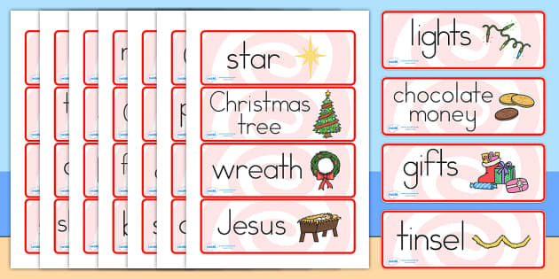 Australia Christmas Topic Word Cards - christmas, word mat, keywords, xmas