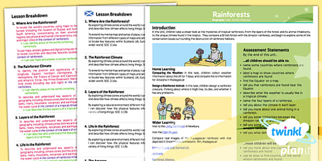 PlanIt - Geography Year 3 - Rainforests Planning Overview CfE - PlanIt, CfE, geography, people and place, rainforest, Amazon