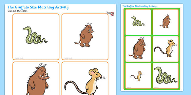 The Gruffalo Size Matching Activity - the gruffalo, the gruffalo size matching, the gruffalo size and image matching game, board and card matching activity