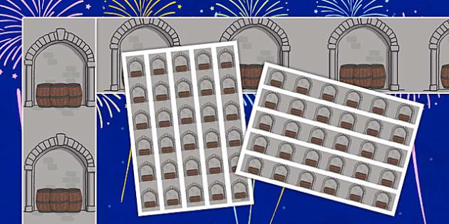 The Gunpowder Plot Display Borders (Barrels) - Display border, bonfire night, classroom border, border,  Guy Fawkes, bonfire, Houses of Parliament, plot, treason, fireworks, Catholic, Protestant, James I