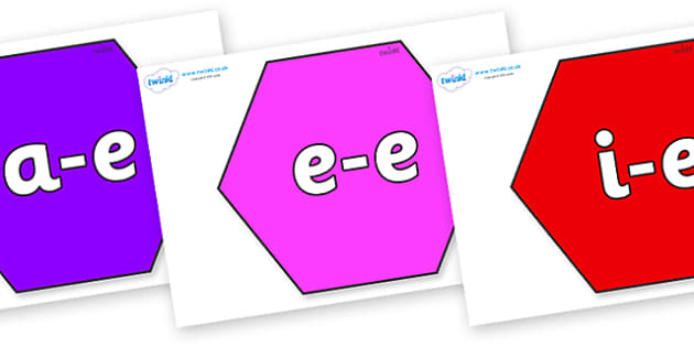 Modifying E Letters on Hexagons - Modifying E, letters, modify, Phase 5, Phase five, alternative spellings for phonemes, DfES letters and Sounds