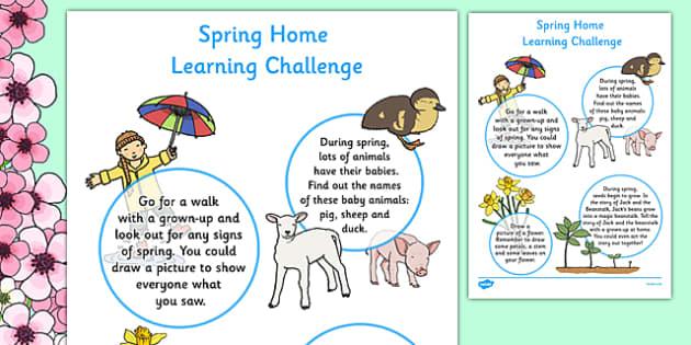 EYFS Spring Home Learning Challenge Sheet Nursery FS1 - EYFS planning, early years activities, homework, seasons