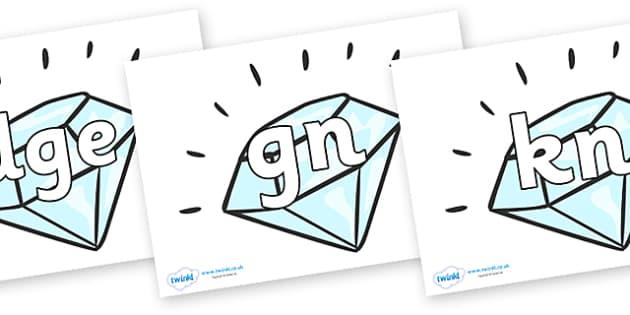 Silent Letters on Diamonds - Silent Letters, silent letter, letter blend, consonant, consonants, digraph, trigraph, A-Z letters, literacy, alphabet, letters, alternative sounds