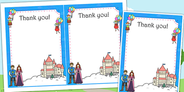 Fairytale Themed Birthday Party Thank You Cards - birthday, party