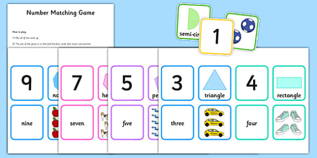 0 10 Number Matching Card Game