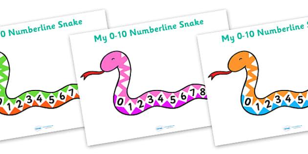 1 to 10 Number Line Snake - numbers, numerline, number line, counting, numberline snake, numberline on a snake, snake numberline, year of the snake numberline, counting on, counting back, maths, math, numeracy, number track, numbertrack