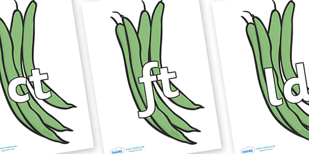 Final Letter Blends on Green Beans - Final Letters, final letter, letter blend, letter blends, consonant, consonants, digraph, trigraph, literacy, alphabet, letters, foundation stage literacy