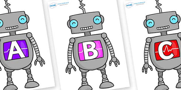 A-Z Alphabet on Robots - A-Z, A4, display, Alphabet frieze, Display letters, Letter posters, A-Z letters, Alphabet flashcards