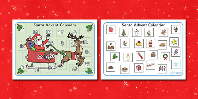 Santa Advent Calendar Activity - Christmas, xmas, Advent calendar, activity, tree, advent, nativity, santa, father christmas, Jesus, tree, stocking, present, activity, cracker, angel, snowman, advent , bauble