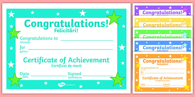 Editable Reward Certificates Romanian Translation - romanian, reward, award, certificate, prizes