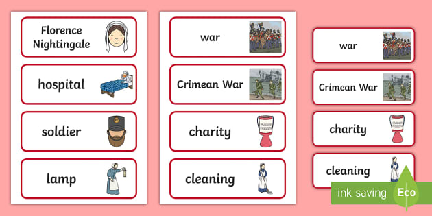 Florence Nightingale Word Cards - Nurse, Lady with the Lamp, word card, cards, flashcards, Crimean War, health, hospital