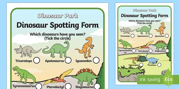 Dinosaur Spotting Form - Dinosaur themed, dinosaur spotting, dinosaur worksheet, dinosaur spotting form, dinosaur themed worksheets