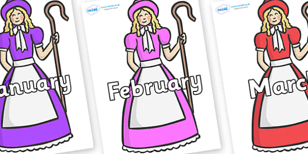 Months of the Year on Little Bo Peep - Months of the Year, Months poster, Months display, display, poster, frieze, Months, month, January, February, March, April, May, June, July, August, September
