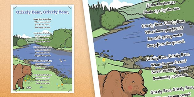 Grizzly Bear, Grizzly Bear Rhyme Poster - grizzly bear, rhyme, display