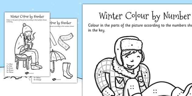 Winter Colour By Number Dots - winter, colour, dots, colour by dots, numbers, activity, numeracy