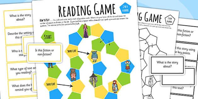 Reading Comprehension Board Game - read, books, board game, games, literacy, reading, comprehension