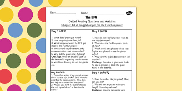 Guided Reading Questions Chapter 13 to Support Teaching on The BFG - bfg, questions, reading
