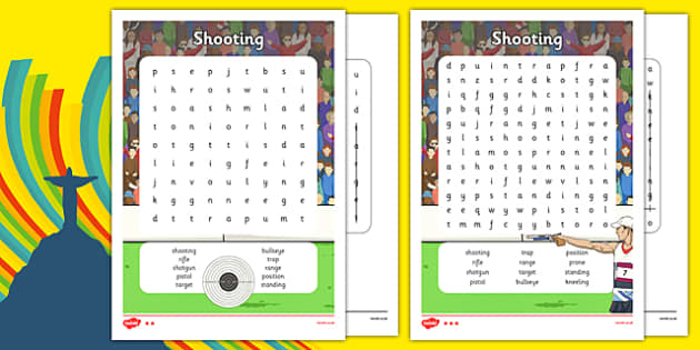 The Olympics Shooting Word Search - the olympics, rio olympics, 2016 olympics, rio 2016, shooting, word search