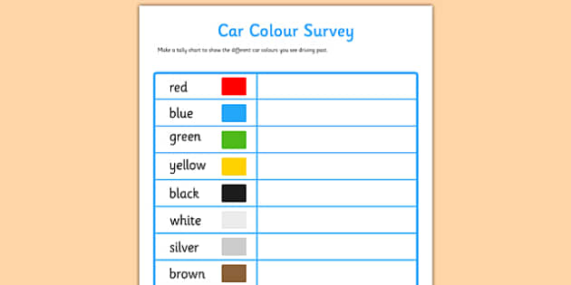 Car Colour Survey - traffic, car colour, colour, cars, survey, how many cars, red, black, green, white