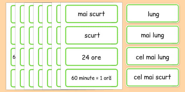 Unitati de masura, Timp, Cartonase cu vocabular - matematica - romanian, time, topic, word, cards, telling time