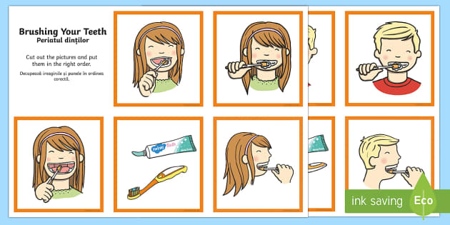 Brushing Your Teeth Sequencing Cards English/Romanian - Brushing Your Teeth Sequencing Cards - brush, brushing teeth, teeth, sequence, sequencing cards, car