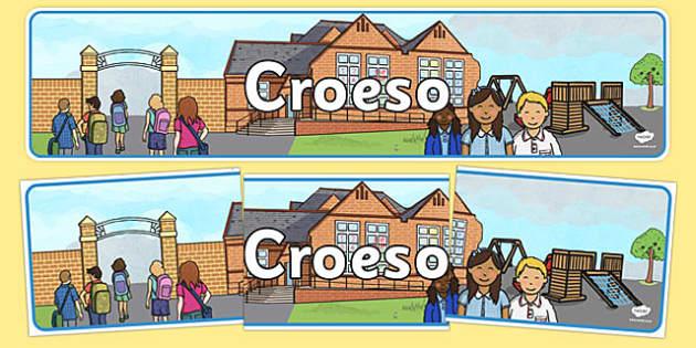 Baner Arddangos 'Croeso' - welsh, cymraeg, wales, cymru, Croeso, Baner Arddangos