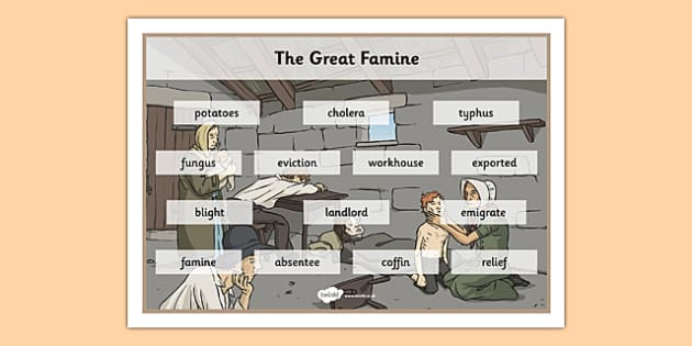 The Great Famine - Vocabulary Mat - gaeilge, the famine, great famine, vocabulary mat, ireland history