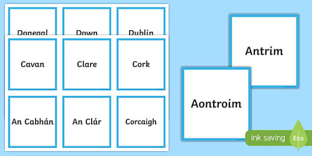 Counties of Ireland Matching Cards