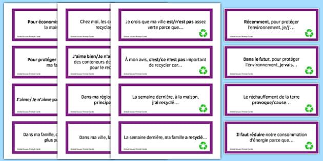 General Conversation Question Prompt Cards Global Issues - french, Conversation, Speaking, Questions, Environment, Environnement, Planet, Planète, Energy, énergie, Recycling, Recyclage, Poverty, Pauvreté, Homeless, SDF, Sans-abri, Cards, Cartes
