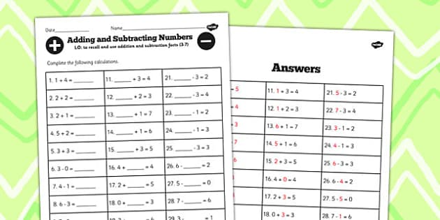 Number Facts Worksheet 3-7 - number, facts, worksheet, 2, 7, math