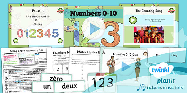 PlanIt - French Year 3 - Getting to Know You Lesson 5: Numbers 0-10 Lesson Pack