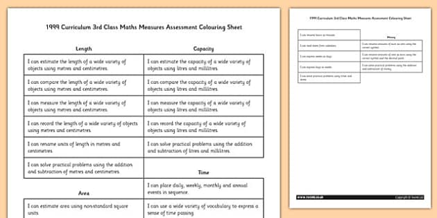 1999 Curriculum 3rd Class Maths Measures Assessment Targets Colouring Sheet - roi, gaeilge, maths, curriculum, 1999