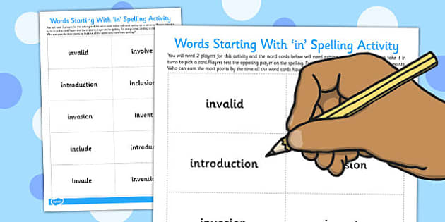 Spelling Test Game Words Beginning With 'in' - spelling, test
