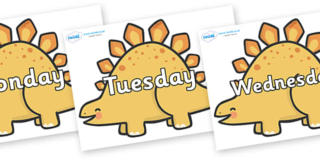 Days of the Week on Stegosarus Dinosaurs - Days of the Week, Weeks poster, week, display, poster, frieze, Days, Day, Monday, Tuesday, Wednesday, Thursday, Friday, Saturday, Sunday