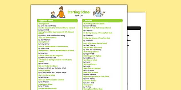 Starting School Book List