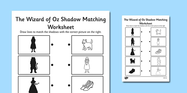 The Wizard of Oz Themed Shadow Matching Activity Worksheet – Wizard of Oz Worksheets