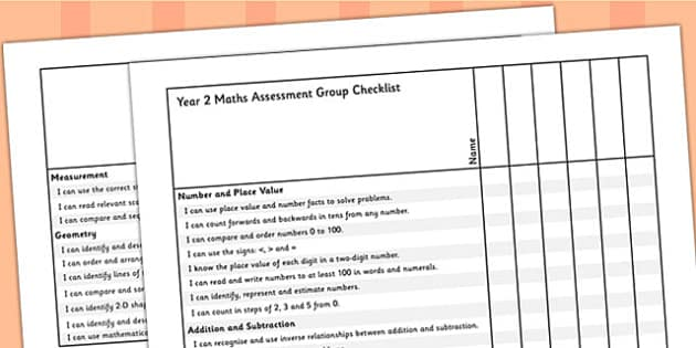 Year 2 Maths Assessment Group Checklist - maths, assessment