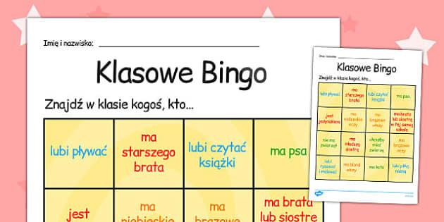 Plansza Bingo Witaj w klasie po polsku - szkola , Polish