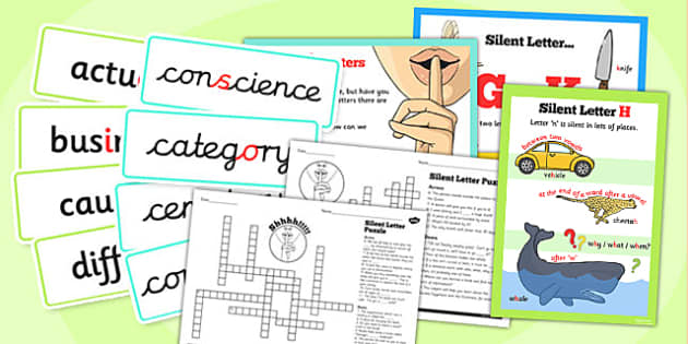 Spell Some Words with Silent Letters Rules Pack - english, UKS2, writing, spelling, words, challenge, display, resources, year 5, year 6