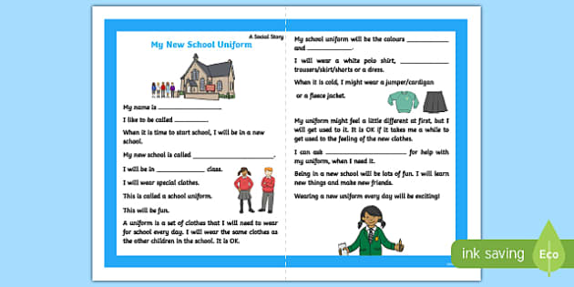 My New School Uniform KS1/2 Social Story