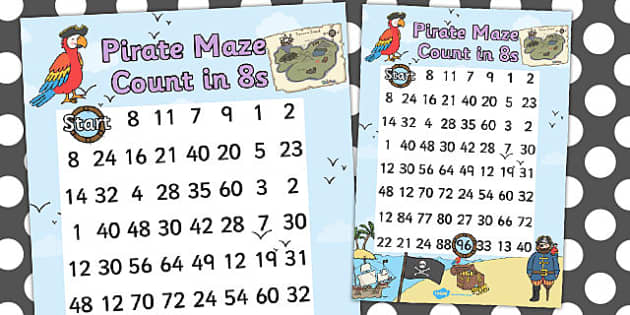 Pirate Themed Counting in 8s Maze Worksheet - pirates, count