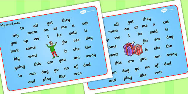 Elf Themed Phase FS2 Word Mat - elf, phase, word mat, mat, fs2