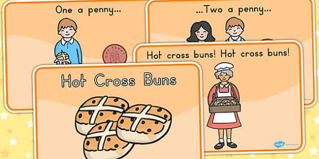 Hot Cross Buns Story Sequencing A4 - nursery rhyme, hot cross bun