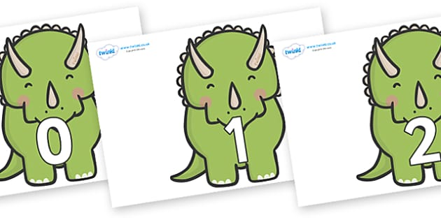 Numbers 0-50 on Triceratops Dinosaurs - 0-50, foundation stage numeracy, Number recognition, Number flashcards, counting, number frieze, Display numbers, number posters