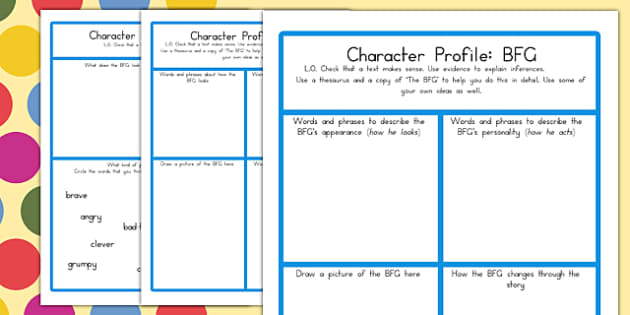 Character Profile Worksheet to Support Teaching on The BFG – Character Profile Worksheet