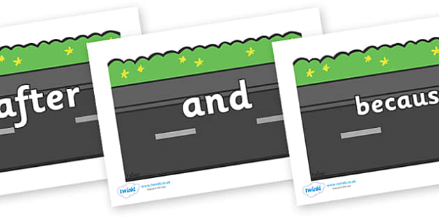 Connectives on Roads (Plain) - Connectives, VCOP, connective resources, connectives display words, connective displays