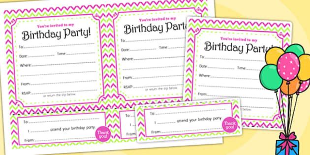 Zig Zag Birthday Party Invitations Pink And Green - birthdays