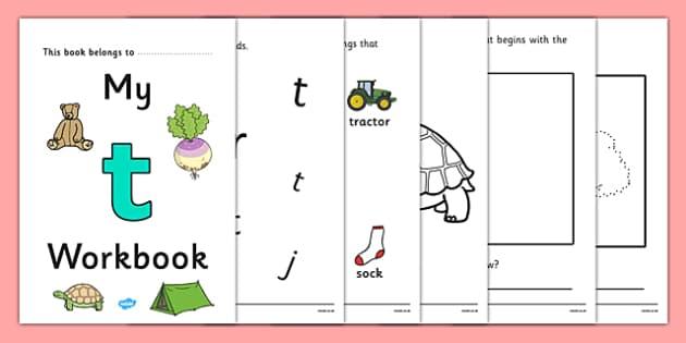 My Workbook t lowercase - workbook, t sound, lowercase, letters, alphabet, activity, handwriting, writing