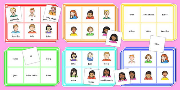 Feelings Bingo Gaeilge - gaeilge, irish, feelings, bingo, activity, game, class, play