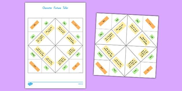 Character Fortune Teller Activity Sheet, worksheet